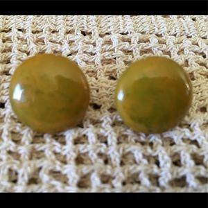 Vintage Green Bakelite Button Earrings